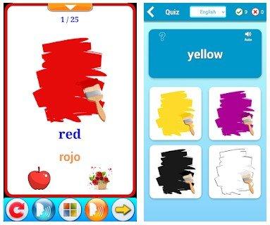 aprendizaje de los colores en inglés con app